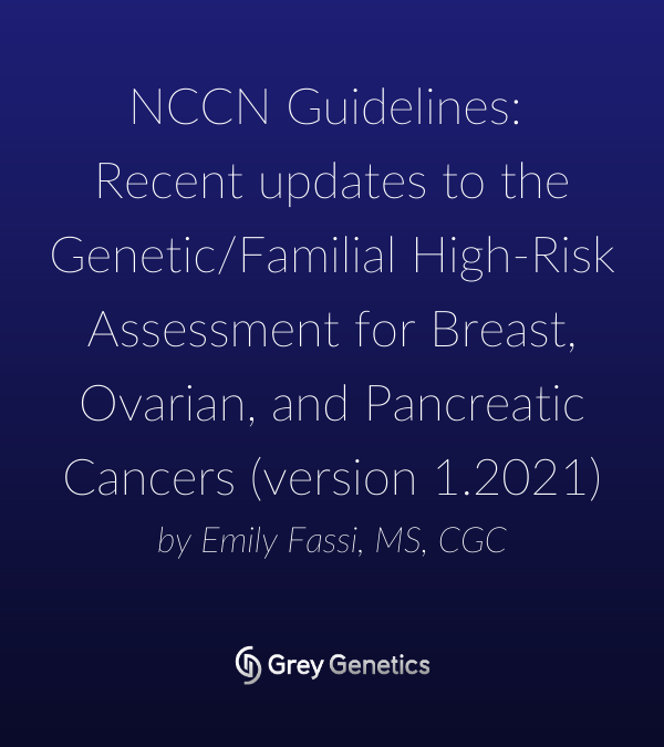 NCCN Guidelines: Recent updates to the Genetic/Familial High-Risk Assessment for Breast, Ovarian, and Pancreatic Cancers (version 1.2021)